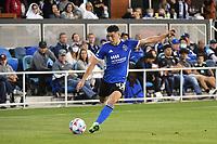 SAN JOSE, CA - JUNE 26: Cristian Espinoza #10 of the San Jose Earthquakes during a game between Los Angeles Galaxy and San Jose Earthquakes at PayPal Park on June 26, 2021 in San Jose, California.