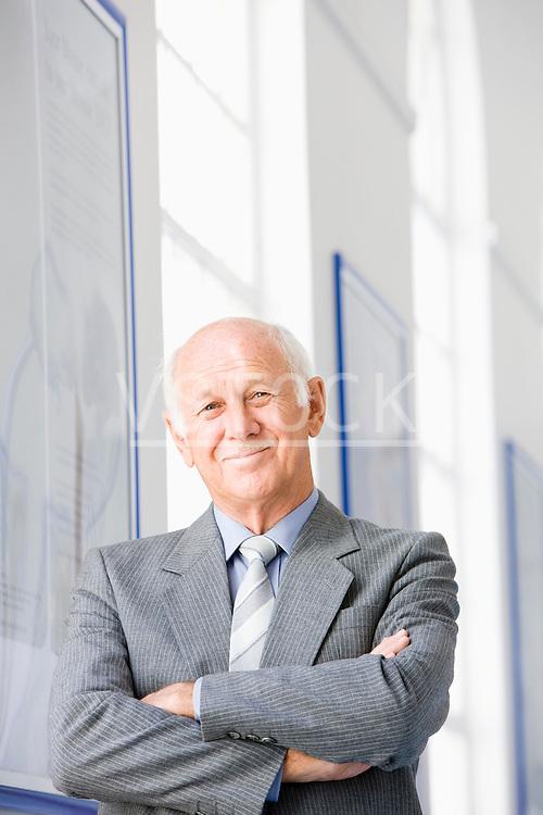 Businessman holding briefcase, portrait