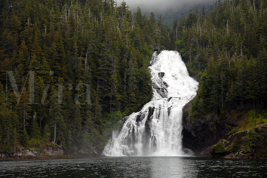 Cascade Falls, Cascade Bay, Prince William Sound, Chugach National Forest, Alaska.