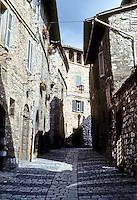 Italy: Assisi--Narrow steep street between Santa Chiara and the Duomo. Photo'85.