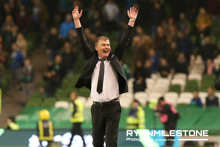 Stephen Kenny celebrates at the final whistle of the Irish Daily Mail FAI Cup Final between Dundalk and Cork City, on Sunday 4th November 2018, at the Aviva Stadium, Dublin. Mandatory Credit: Michael P Ryan.