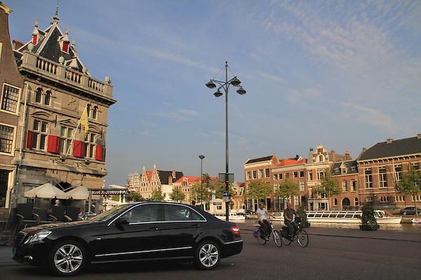 View from the Nobel Restaurant along the Spaarne River, Haarlem, Holland, Netherlands.