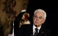 Italian president Sergio Mattarella delivers a speech during a meeting with the Pope at the Quirinale presidential palace in Rome, on June 10, 2017.<br /> UPDATE IMAGES PRESS/Isabella Bonotto<br /> STRICTLY ONLY FOR EDITORIAL USE