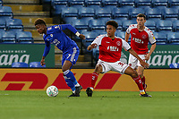 Demarai Gray of Leicester City and James Hill of Fleetwood Town during the English League Cup Round 2 Group North match between Leicester City and Fleetwood Town at the King Power Stadium, Leicester, England on 28 August 2018. Photo by David Horn.