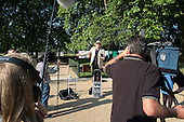 Tony Allen addresses the press at the opening of the newly re-landscaped speaking area at Speakers' Corner, Hyde Park, London.