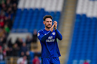 Sean Morrison of Cardiff City claps the fans at full time of the Sky Bet Championship match between Cardiff City and Middlesbrough at the Cardiff City Stadium, Cardiff, Wales on 17 February 2018. Photo by Mark Hawkins / PRiME Media Images.