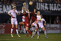San Diego, CA - Sunday January 21, 2018: Emily Sonnett, Carli Lloyd prior to an international friendly between the women's national teams of the United States (USA) and Denmark (DEN) at SDCCU Stadium.
