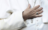 The hand of Pope Frances as he delivers his speech during his visit at the Roma Tre University in Rome, on February 17, 2017.<br /> UPDATE IMAGES PRESS/Isabella Bonotto<br /> <br /> STRICTLY ONLY FOR EDITORIAL USE