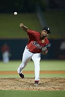 Birmingham Barons relief pitcher Luis Ledo (39) in action against the Mississippi Braves at Regions Field on August 3, 2021, in Birmingham, Alabama. (Brian Westerholt/Four Seam Images)