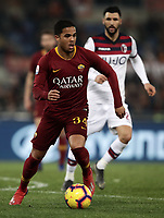 Football, Serie A: AS Roma - Bologna FC, Olympic stadium, Rome, February 18, 2019. <br /> Roma's Justin Kluivert in action with  during the Italian Serie A football match between AS Roma and Bologna FC at Olympic stadium in Rome, on February 18, 2019.<br /> UPDATE IMAGES PRESS/Isabella Bonotto