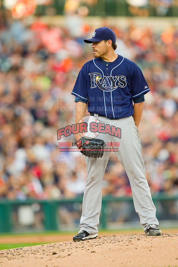 Tampa Bay Rays starting pitcher Matt Moore (55) looks to his catcher for the sign against the Detroit Tigers at Comerica Park on June 4, 2013 in Detroit, Michigan.  The Tigers defeated the Rays 10-1.  Brian Westerholt/Four Seam Images