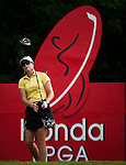 CHON BURI, THAILAND - FEBRUARY 16:  Paula Creamer of USA tees off on the 17th hole during day one of the LPGA Thailand at Siam Country Club on February 16, 2012 in Chon Buri, Thailand.  Photo by Victor Fraile / The Power of Sport Images