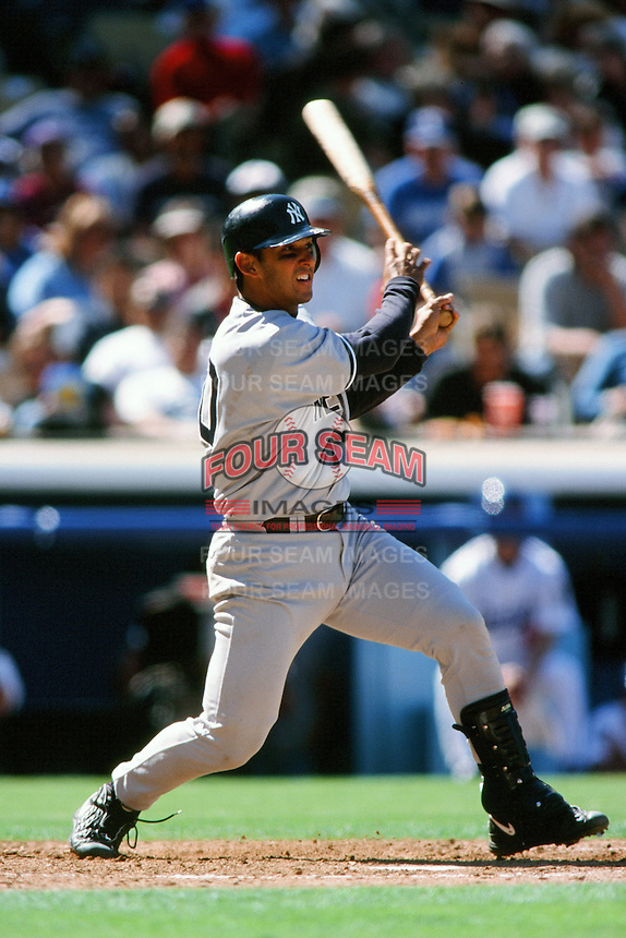 Jorge Posada of the New York Yankees during a game against the Los Angeles Dodgers circa 1999 at Dodger Stadium in Los Angeles, California. (Larry Goren/Four Seam Images)