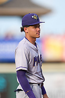 Fort Myers Mighty Mussels shortstop Keoni Cavaco (9) during a game against the Bradenton Marauders on May 6, 2021 at LECOM Park in Bradenton, Florida.  (Mike Janes/Four Seam Images)