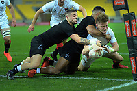 Jordie Barrett scores for the South during the rugby match between North and South at Sky Stadium in Wellington, New Zealand on Saturday, 5 September 2020. Photo: Dave Lintott / lintottphoto.co.nz