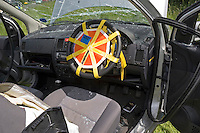 Air bag restraint covering steering wheel to prevent deployment whilst Firefighters work on car and release driver. This image may only be used to portray the subject in a positive manner..©shoutpictures.com..john@shoutpictures.com