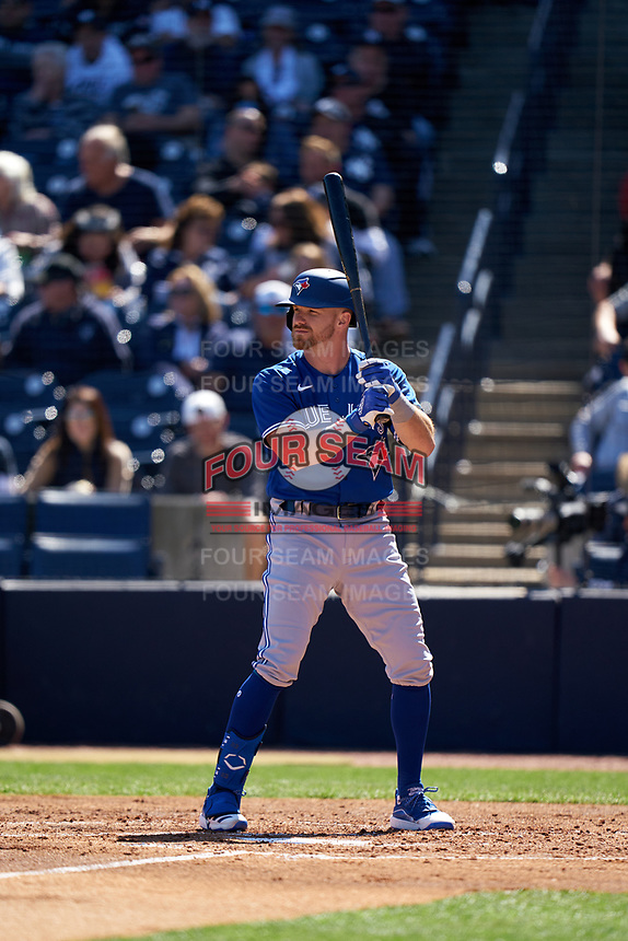 Toronto Blue Jays Derek Fisher  (23) bats during a Spring Training game against the New York Yankees on February 22, 2020 at the George M. Steinbrenner Field in Tampa, Florida.  (Mike Janes/Four Seam Images)