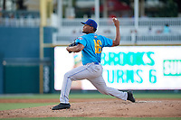 Amarillo Sod Poodles pitcher Ronald Bolanos (16) during a Texas League game against the Frisco RoughRiders on July 12, 2019 at Dr Pepper Ballpark in Frisco, Texas.  (Mike Augustin/Four Seam Images)