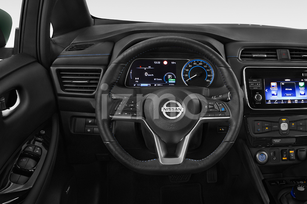 Car pictures of steering wheel view of a 2018 Nissan Leaf Tekna 5 Door Hatchback