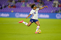 ORLANDO CITY, FL - FEBRUARY 18: Margaret Purce #20 of the United States takes a shot during a game between Canada and USWNT at Exploria Stadium on February 18, 2021 in Orlando City, Florida.
