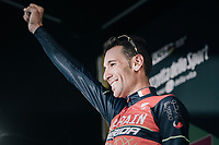 race winner Vincenzo Nibali (ITA/Bahrain-Merida) is celebrated on the podium in Como<br /> <br /> Il Lombardia 2017<br /> Bergamo to Como (ITA) 247km