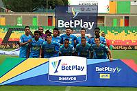 BUCARAMANGA - COLOMBIA, 07-11-2020: Jugadores de Jaguares de Cordoba F. C., posan para una foto antes de partido entre Atletico Bucaramanga y Jaguares de Cordoba F. C., de la fecha 18 por la Liga BetPlay DIMAYOR 2020, jugado en el estadio Alfonso Lopez de la ciudad de Bucaramanga. / Players of Jaguares de Cordoba F. C. pose for a photo prior a match between Atletico Bucaramanga and Jaguares de Cordoba F. C., of the 18th date for the BetPlay DIMAYOR League 2020 at the Alfonso Lopez stadium in Bucaramanga city. / Photo: VizzorImage / Jaime Moreno / Cont.