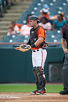 Bowie Baysox catcher Austin Wynns (18) during the first game of a doubleheader against the Akron RubberDucks on June 5, 2016 at Prince George's Stadium in Bowie, Maryland.  Bowie defeated Akron 6-0.  (Mike Janes/Four Seam Images)