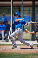 Toronto Blue Jays Max Pentecost (8) follows through on a swing during a minor league Spring Training game against the New York Yankees on March 30, 2017 at the Englebert Complex in Dunedin, Florida.  (Mike Janes/Four Seam Images)