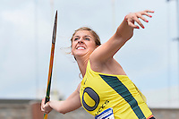 Haley Crouser of Oregon competes in first round of javelin during West Preliminary Track & Field Championships at John McDonnell Field, Thursday, May 29, 2014 in Fayetteville, Ark. (Mo Khursheed/TFV Media via AP Images)