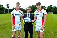 Monday 12th August 2019 | Ulster Schools U18<br /> <br /> RBAI and Ulster Schools U18 players Paddy Eames and Jude Postlethwaite are pictured with Richard Caldwell representing the sponsors Danske Bank during a photo call at the Ulster Schools training base at Newforge Country Club, Belfast, Northern Ireland. Photo by John Dickson / DICKSONDIGITAL