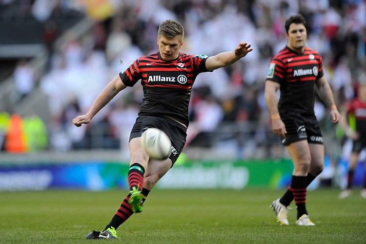 Owen Farrell of Saracens takes a penalty kick during the Heineken Cup quarter final match between Saracens and Ulster Rugby at Twickenham Stadium on Saturday 6th April 2013 (Photo by Rob Munro)