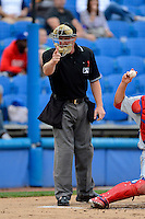 Umpire James Rackley during a Florida State League game between the Dunedin Blue Jays and Clearwater Threshers at Florida Auto Exchange Stadium on April 4, 2013 in Dunedin, Florida.  Dunedin defeated Clearwater 4-2.  (Mike Janes/Four Seam Images)
