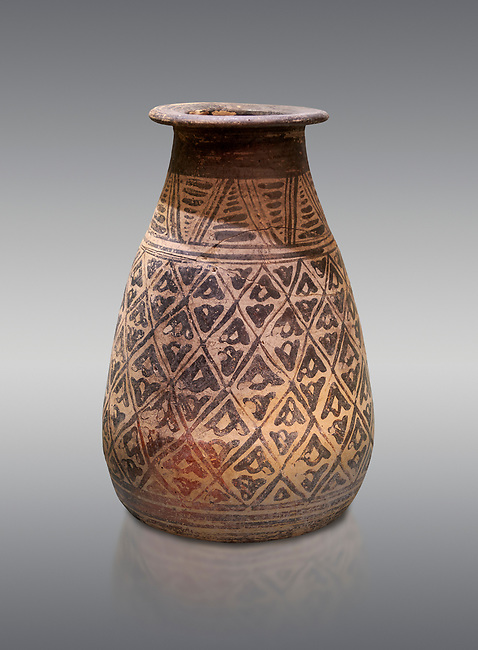 The Minoan decorated clay alabastron burial vessels with geometric design , Kamilari 1500-1300  BC; Heraklion Archaeological  Museum, grey background