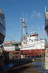 Port Townsend, Boat Haven Marina, boat harbor, fishing boat, Evening Star, on the hard, salmon seiner, Jefferson County, Olympic Peninsula, Washington State, Pacific Northwest, USA,