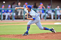 Kingsport Mets starting pitcher Nate Peden (21) delivers a pitch during a game against the Elizabethton Twins at Joe O'Brien Field on August 7, 2018 in Elizabethton, Tennessee. The Twins defeated the Mets 16-10. (Tony Farlow/Four Seam Images)