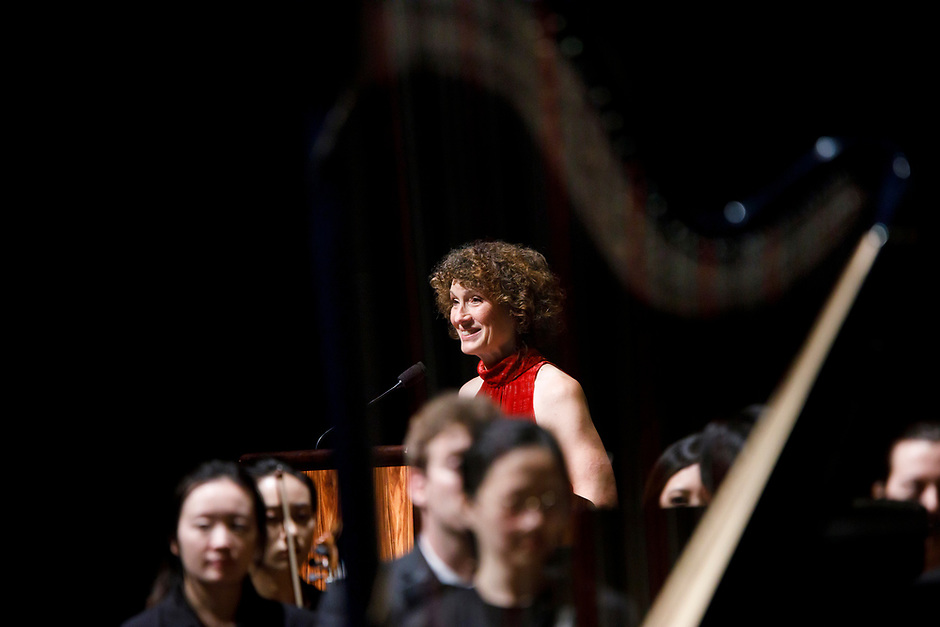Indiana University First Lady Laurie Burns McRobbie speaks during the Stage IV concert at the 11th USA International Harp Competition at Indiana University in Bloomington, Indiana on Saturday, July 13, 2019. (Photo by James Brosher)