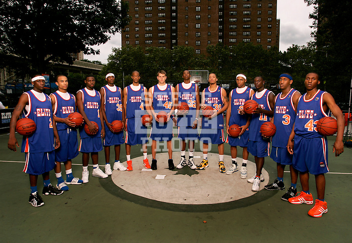 """The """"Skip to my Lou"""" squad on September 1, 2006 at Rucker Park in New York, New York.  Pictured left to right are Senario Hillman, Jerryd Bayless, Tyreke Evans, Devin Ebanks, Anthony Randolph, Cole Aldrich, DeAndre Jordan, Michael Beasley, Gary Johnson, Lance Stephenson, Austin Freeman and Nolan Smith.  The players were in town for the Elite 24 Hoops Classic, which brought together the top 24 high school basketball players in the country regardless of class or sneaker affiliation."""