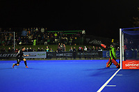 NZ's Shea McAleese scores from a penalty stroke during the Sentinel Homes Trans Tasman Series hockey match between the New Zealand Black Sticks Men and the Australian Kookaburras at Massey University Hockey Turf in Palmerston North, New Zealand on Tuesday, 1 June 2021. Photo: Dave Lintott / lintottphoto.co.nz