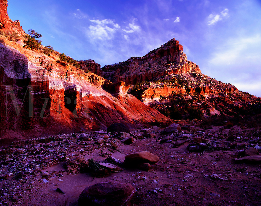 Dry wash and Eph Hanks Tower Capitol Reef National Park Utah