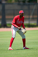 Philadelphia Phillies outfielder Felix Reyes (25) during an Extended Spring Training game against the Toronto Blue Jays on June 12, 2021 at the Carpenter Complex in Clearwater, Florida. (Mike Janes/Four Seam Images)