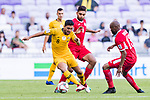 Massimo Luongo of Australia (L) battles for the ball with Saeed Almurjan (C) and Khalil Baniateyah of Jordan during the AFC Asian Cup UAE 2019 Group B match between Australia (AUS) and Jordan (JOR) at Hazza Bin Zayed Stadium on 06 January 2019 in Al Ain, United Arab Emirates. Photo by Marcio Rodrigo Machado / Power Sport Images