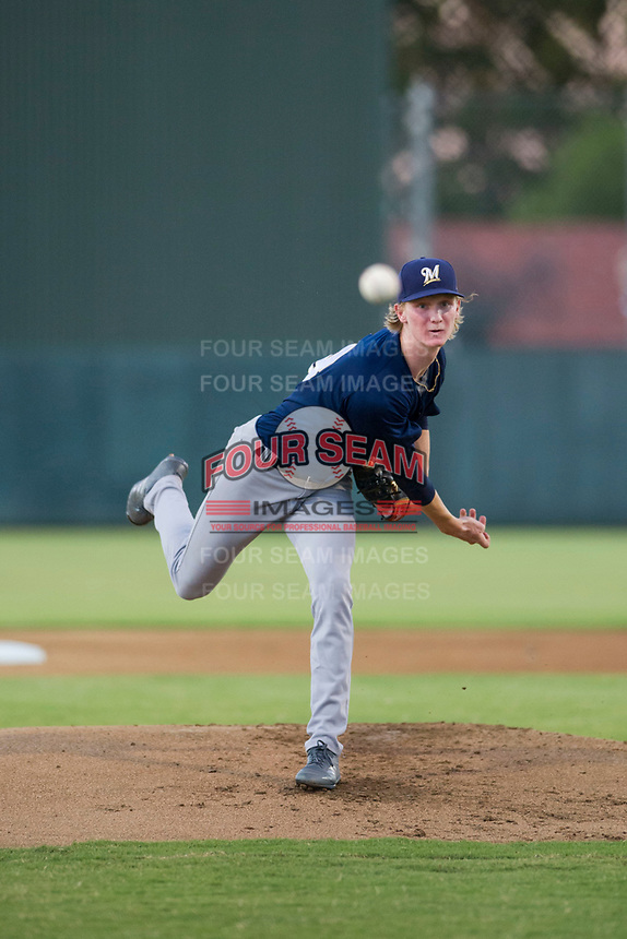 AZL Brewers starting pitcher Caden Lemons (18) follows through on his delivery against the AZL Athletics on August 18, 2017 at Lew Wolff Training Complex in Mesa, Arizona. AZL Brewers defeated the AZL Athletics 6-4. (Zachary Lucy/Four Seam Images)