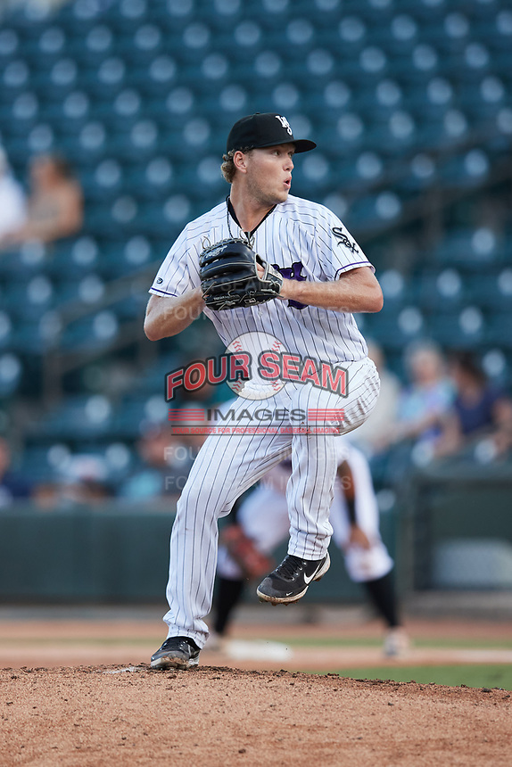 Winston-Salem Dash starting pitcher Chase Solesky (10) in action against the Hudson Valley Renegades at Truist Stadium on August 28, 2021 in Winston-Salem, North Carolina. (Brian Westerholt/Four Seam Images)
