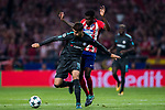 Alvaro Morata (l) of Chelsea FC fights for the ball with Thomas Teye Partey of Atletico de Madrid during the UEFA Champions League 2017-18 match between Atletico de Madrid and Chelsea FC at the Wanda Metropolitano on 27 September 2017, in Madrid, Spain. Photo by Diego Gonzalez / Power Sport Images