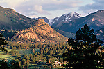 Old Man Mountain, a sacred site to the ancient Native Americans of the area, rises to the west of downtown Estes Park, Colorado, USA