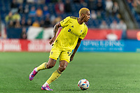 FOXBOROUGH, MA - AUGUST 4: Jhonder Cadiz #99 of Nashville SC looks to pass during a game between Nashville SC and New England Revolution at Gillette Stadium on August 4, 2021 in Foxborough, Massachusetts.