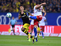 Soccer Football - Bundesliga - Hamburg SV vs Borussia Dortmund - Volksparkstadium, Hamburg, Germany - September 20, 2017   Borussia Dortmund's Pierre-Emerick Aubameyang in action with Hamburg's Mergim Mavraj        REUTERS/Fabian Bimmer    DFL RULES TO LIMIT THE ONLINE USAGE DURING MATCH TIME TO 15 PICTURES PER GAME. IMAGE SEQUENCES TO SIMULATE VIDEO IS NOT ALLoewED AT ANY TIME. FOR FURTHER QUERIES PLEASE CONTACT DFL DIRECTLY AT + 49 69 650050 *** Local Caption *** © pixathlon<br /> <br /> +++ NED + SUI out !!! +++<br /> Contact: +49-40-22 63 02 60 , info@pixathlon.de