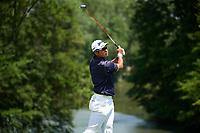 5th June 2021; Dublin, Ohio, USA;   Hideki Matsuyama (Japan) watches his tee shot on 9 during the third round of the Memorial Tournament at Muirfield Village Golf Club in Dublin, Ohio on June 05, 2021.
