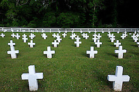 USA. Angola. 21st April 2008..Point Lookout, one of Angola's two cemeteries. On average one in three of the inmates who die at the prison are buried here..©Andrew Testa