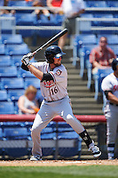 Richmond Flying Squirrels second baseman Brandon Bednar (16) at bat during a game against the Binghamton Mets on June 26, 2016 at NYSEG Stadium in Binghamton, New York.  Binghamton defeated Richmond 7-2.  (Mike Janes/Four Seam Images)